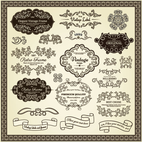 Elements of vintage frames and label vector Free vector in ...