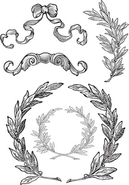 elements of vintage frames vector set