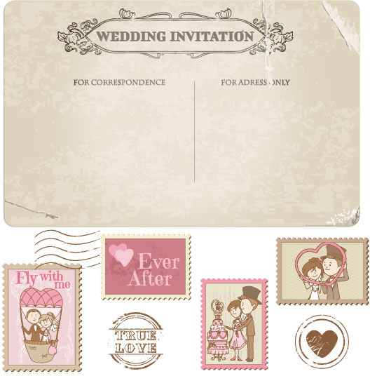 elements of wedding seal and stamp vector