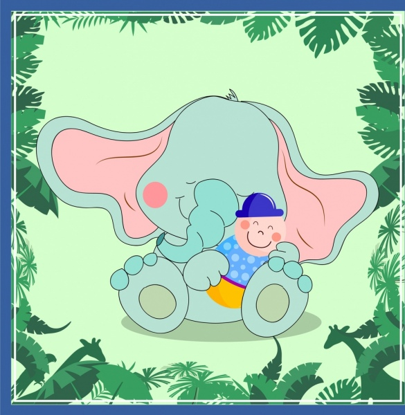 elephant background cute cartoon character leaf decoration