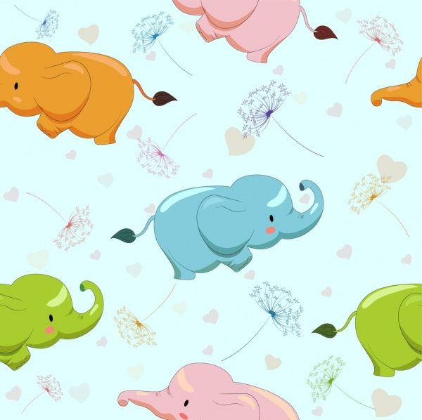 elephant background cute icons multicolored repeating decor