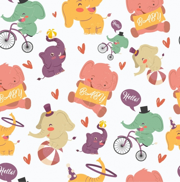 elephant background cute stylized cartoon icons repeating design