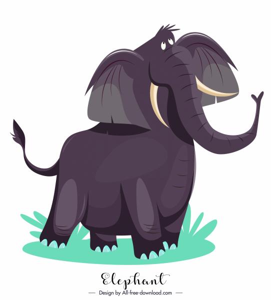 elephant icon cute cartoon sketch colored design