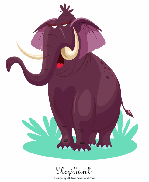 elephant icon funny cartoon character violet design