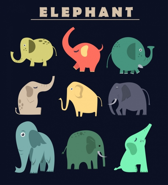 elephant icons collection colored cartoon design