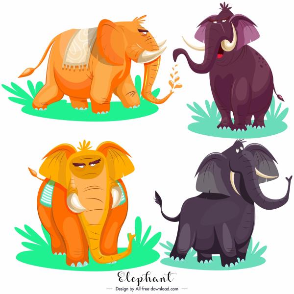 elephant icons colored cartoon sketch