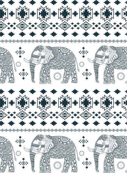 elephant pattern design with black and white ornamentation