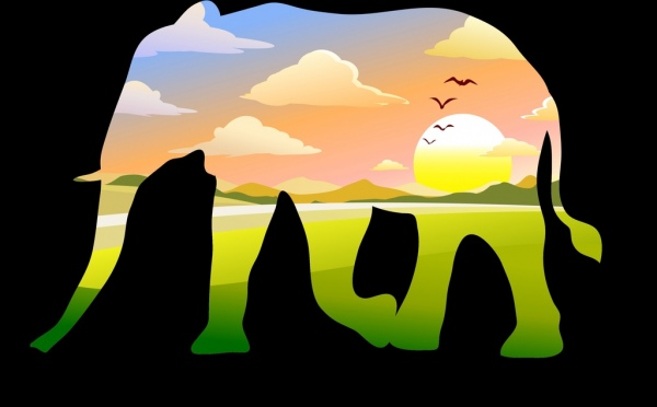 elephant sketch colorful penetration style natural scenery decoration
