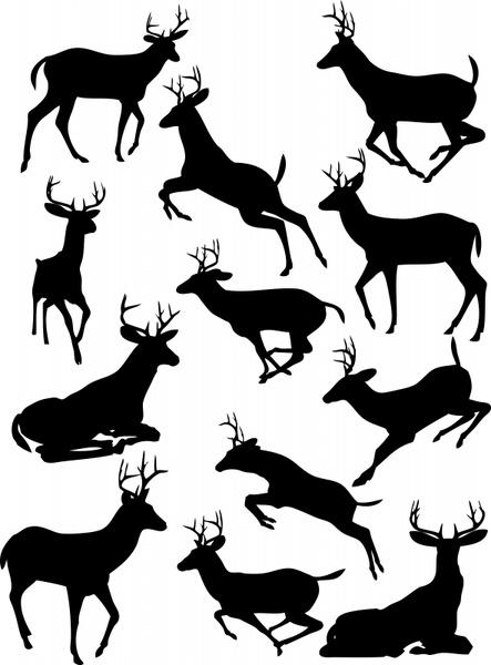 reindeer icons black silhouette sketch