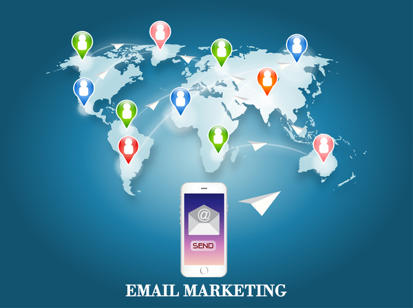 email marketing illustration with phone and world map