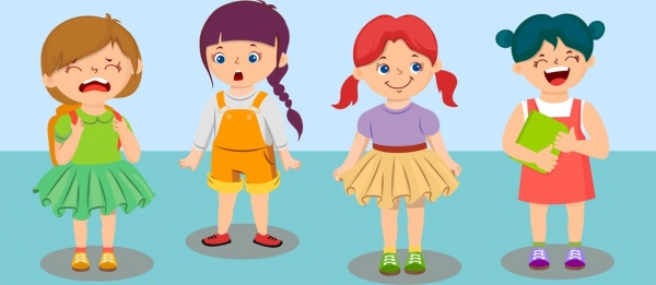 emoticon background little girls icon cartoon characters