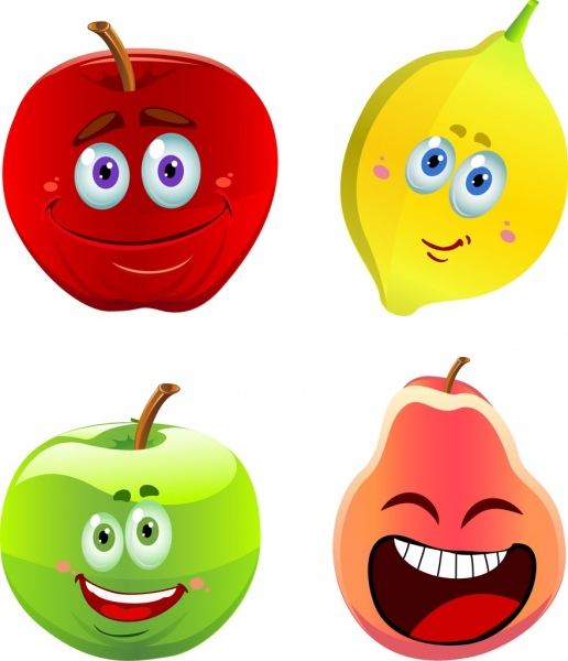 emoticon collection colorful shiny fruits icons