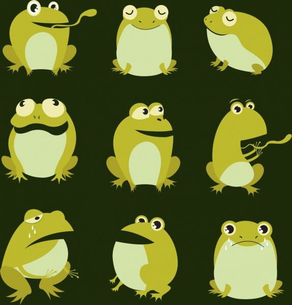 emoticon collection green frogs icons cartoon design