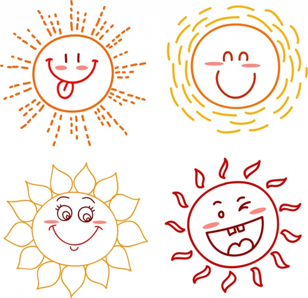 emoticon collection sun icons cute handdrawn outline