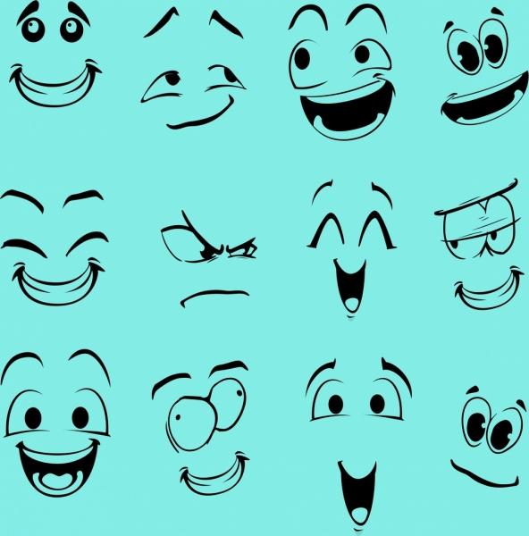 Emotion Faces Collection Funny Emoticon Design Free Vector In Adobe