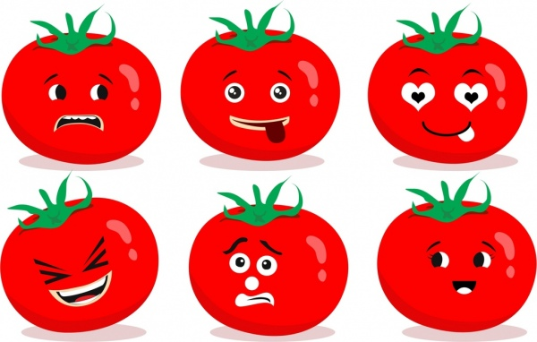 emotional face icons red tomato decoration