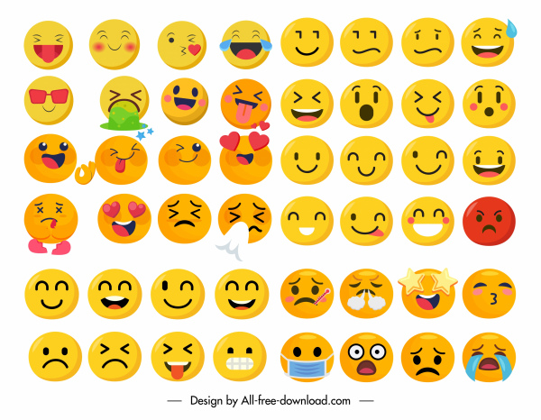 emotional icons collection funny cute circle sketch