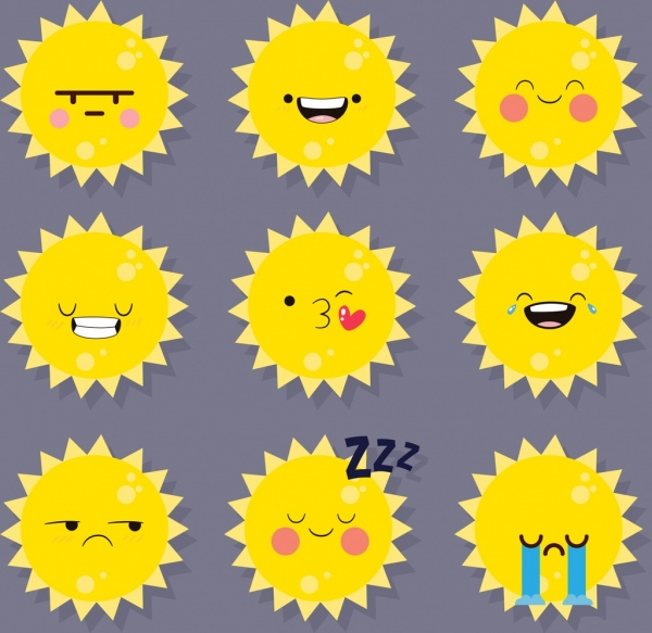 emotional icons collection sun faces yellow design