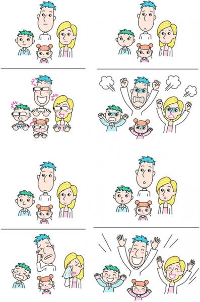 emotions of a family of four vector