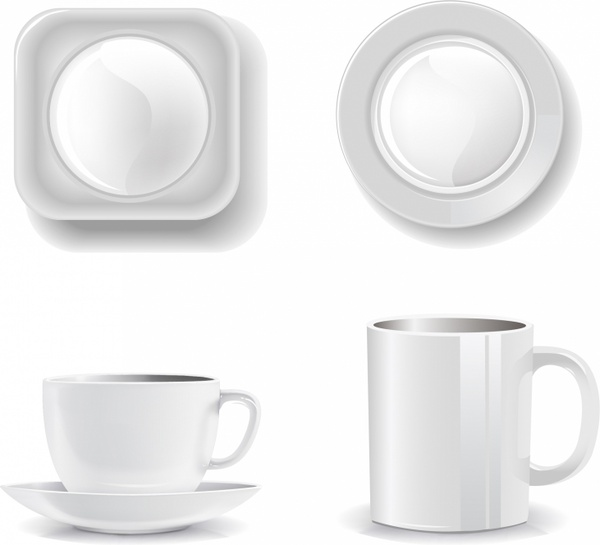 Empty cups and plates on a white