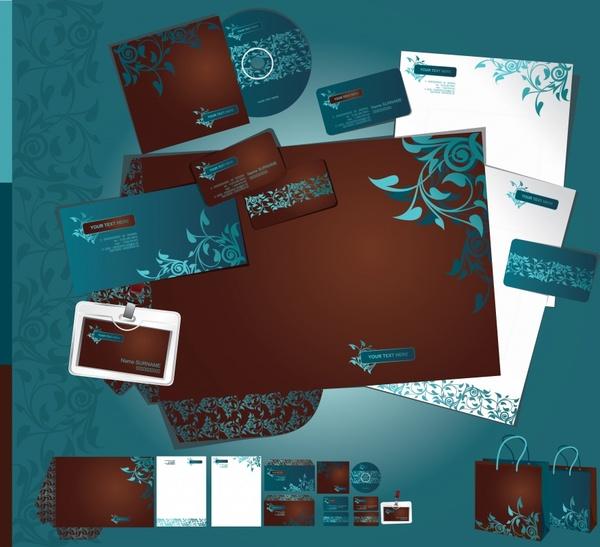 corporate identity templates classic flower leaves decor