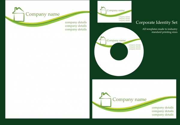 corporate identity templates house icon green curves decor