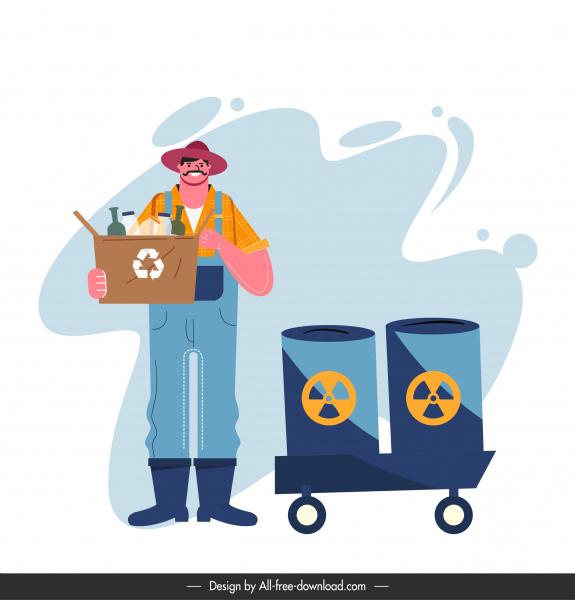environental protection painting human rubbish classification cartoon sketch