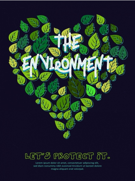 environment banner green leaves icons heart layout