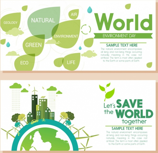 environment banners green leaf globe buildings icons decor