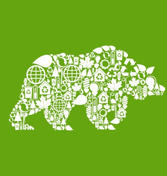 environmental elements of collage images of animals vector 4