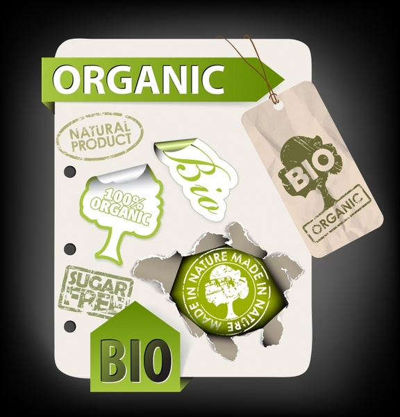 organic stickers templates green modern retro shapes