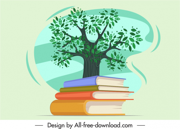 environmental knowledge icon 3d books stack tree sketch