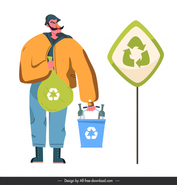 environmental protection banner man recycling rubbish sketch