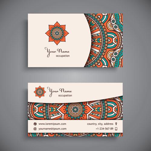 ethnic pattern business card vintage vector