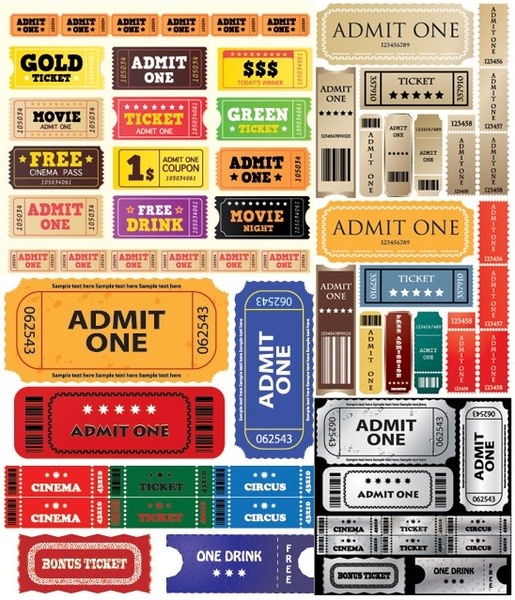 european and american movie ticket clip art