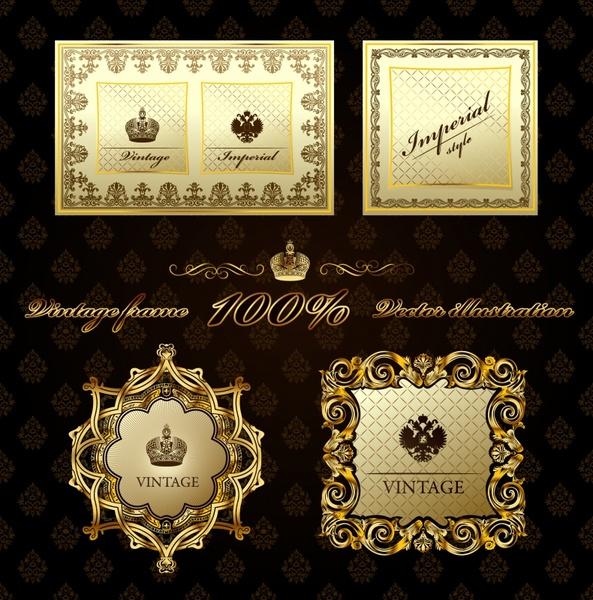 border templates golden vintage design