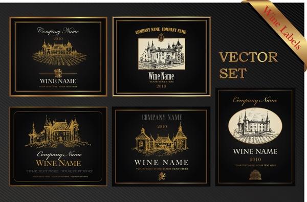 wine labels templates elegant classical dark architecture decor