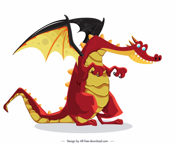 european dragon icon funny cartoon character sketch
