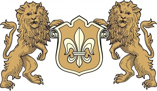 european heraldic template symmetric lions shield sketch