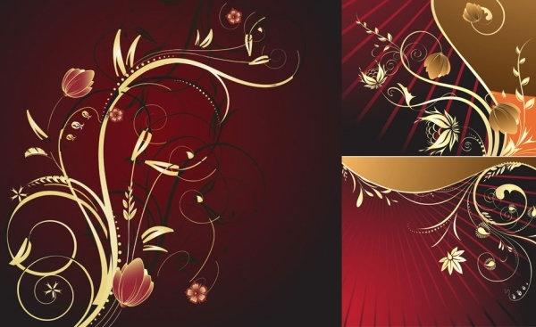 european gold flower pattern vector