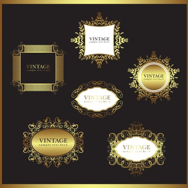 frame templates elegant vintage golden symmetric shapes
