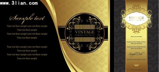 invitation card templates elegant retro golden black decor