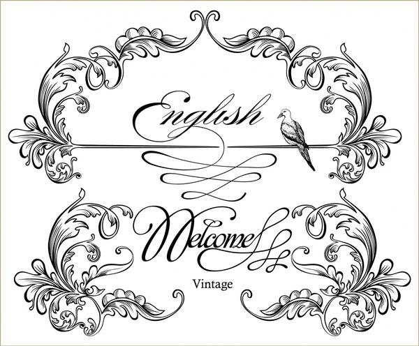 wedding card decorative templates elegant classic symmetric curves