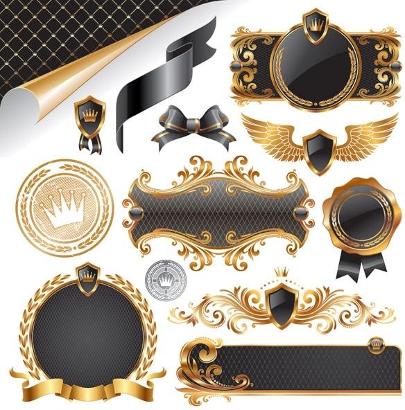 european gorgeous decorative elements vector