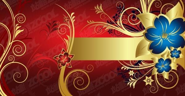 European gorgeous golden flower pattern vector Free vector in