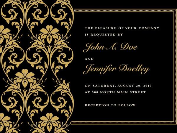 Invitation Card Template Elegant Black Golden Decor Free