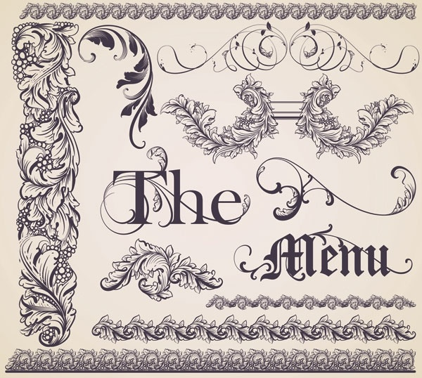 european gorgeous restaurant menu pattern vector 2