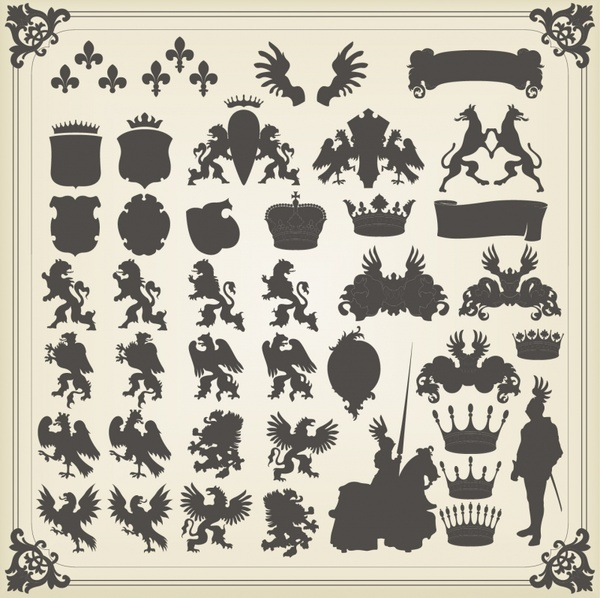 royal decor elements elegant european classic silhouette design