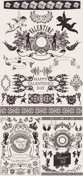 european gorgeous valentine day theme classic lace pattern vector