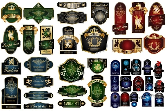 european gorgeous variety of vector clip label